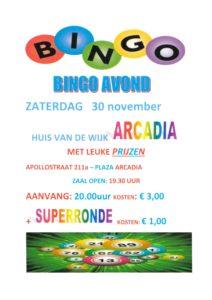 Bingo avond zaterdag 30 november @ Huis van de Wijk Arcadia